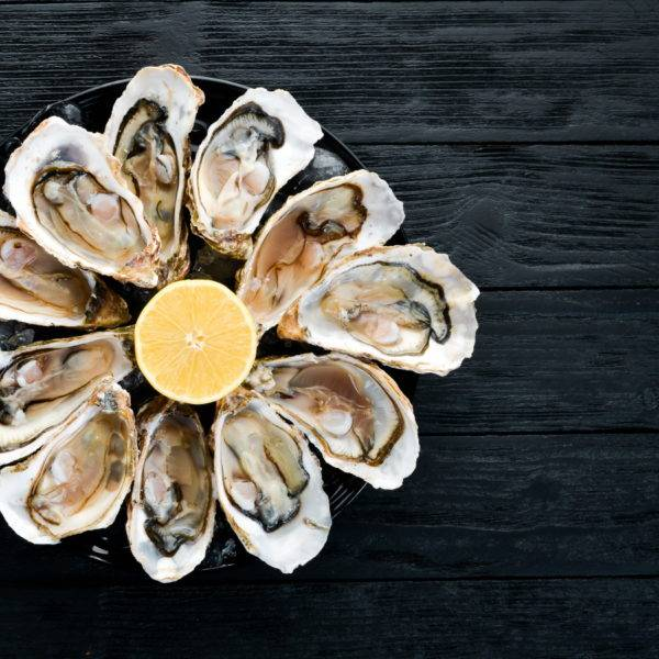 Fresh oysters in a plate of ice and lemon.